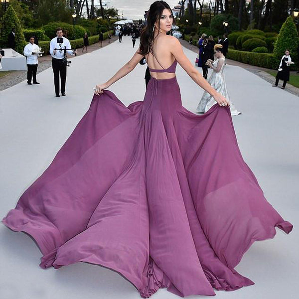 Kendall Jenner Inspired Prom Dress Spaghetti Straps Jersey Prom
