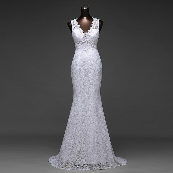 2017 High Quality Simple Design Sexy V_neck and Beautiful Backless Mermaid Wedding Dresses,220014
