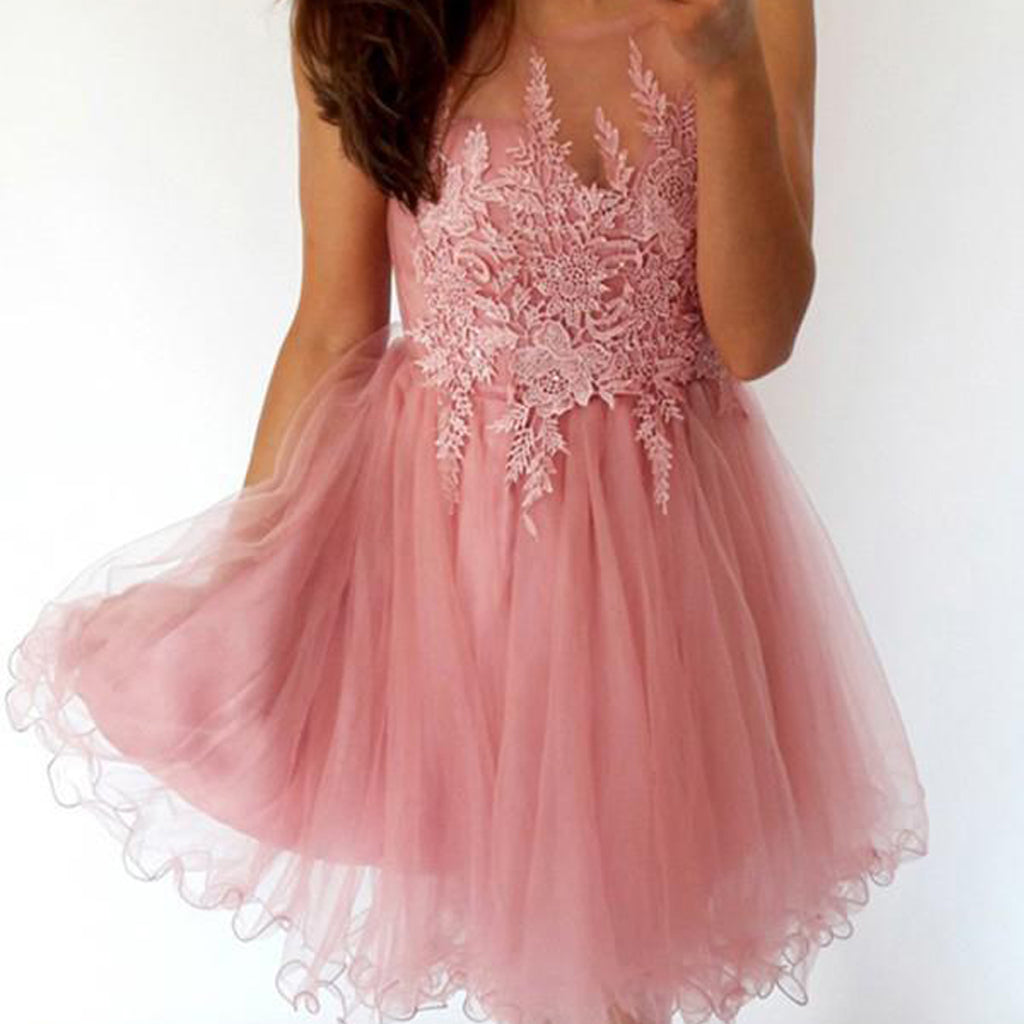Tulle Round Neckline Homecoming Dress, V-Back Applique Homecoming Dress, KX143