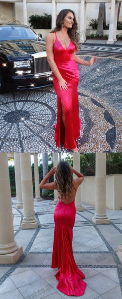 Charming Mermaid Soft Satin V-Neck Prom Dresses, Red Slit Backless Spaghetti Straps Prom Dresses, KX1449