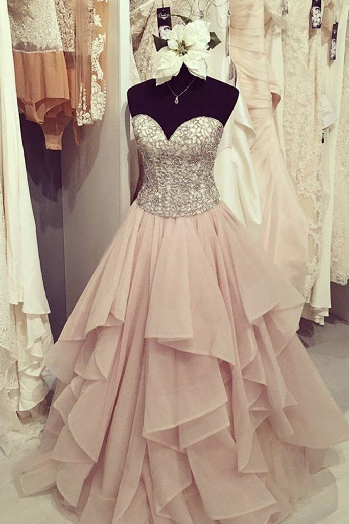 Organza A line Evening Prom Dresses, Long Beaded Party Prom Dress, Custom Long Prom Dresses, Cheap Formal Prom Dresses, 17054