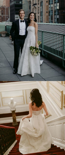Gorgrous A-Line Backless Lace Floor-Length Straight Neckline Wedding Dresses, FC1482