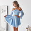 Blue Halter Chiffon Homecoming Dresses, Backless Long Sleeve Homecoming Dresses, KX1514