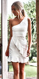 One Shoulder White Homecoming Dresses, Lace Sleeveless Homecoming Dresses, KX1518