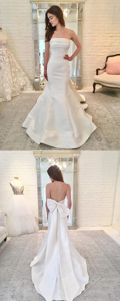 Straight Neckline Satin Backless Mermaid Wedding Dress with Bow-Knot, FC1584
