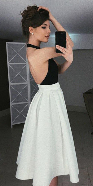Halter Jersey A-Line Backless Satin Homecoming Dress, FC1587