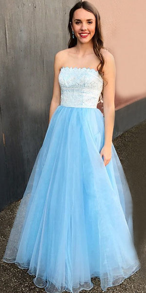 A-line Tulle Straight Neckline Backless Lace Beaded Prom Dresses, FC1589