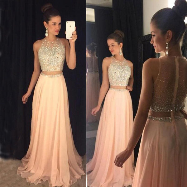 Sleeveless Prom Dress, Beaded Chiffon Prom Dress, A-Line Prom Dress, KX158