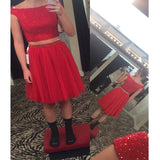 Short blush red cap sleeve two pieces sparkly lovely freshman homecoming prom dresses, BD00162
