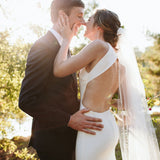 Charming Sheath Open-Back Sleeveless Simple Design Wedding Dresses, FC1654