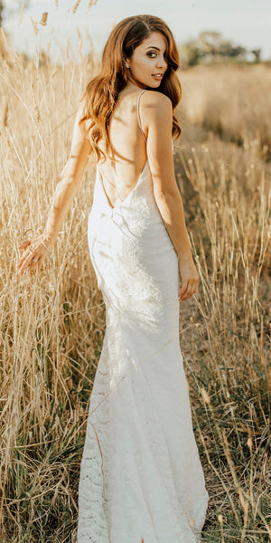 Newest Lace Mermaid Backless Spaghetti Straps Long Wedding Dresses, FC1694