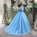Off Shoulder Tulle Princess Beaded Charming Applique Backless Long Prom Dress, FC1703