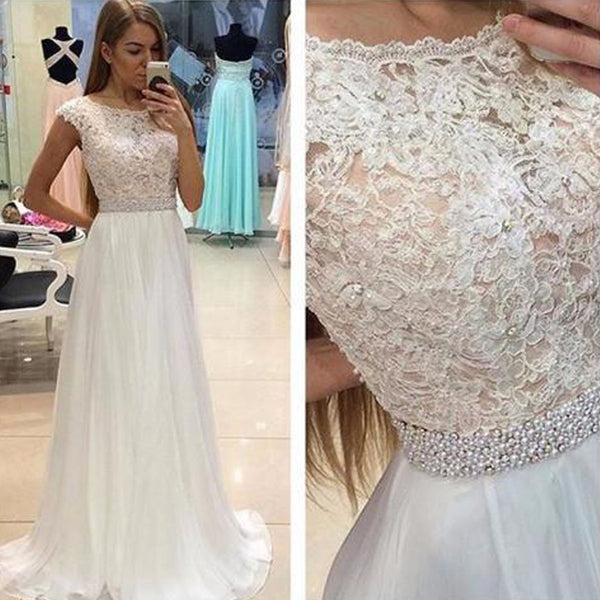 Lace See Through Evening Prom Dresses, Cap sleeve Party Prom Dress, Custom Long Prom Dresses, Cheap Formal Prom Dresses, 17079