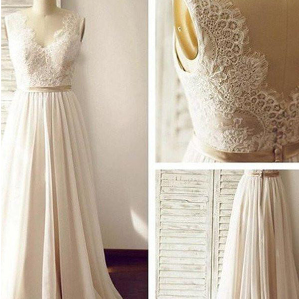 Lace Backless Beach Wedding Dresses, 2017 Chiffon Long Custom Wedding Gowns, Affordable Bridal Dresses, 17097