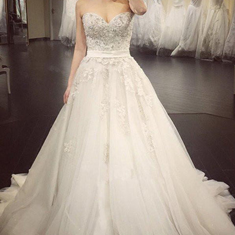 A Line Lace Crystal A line Wedding Dresses,  2017 Luxurious Long Custom Wedding Gowns, Affordable Bridal Dresses, 17112
