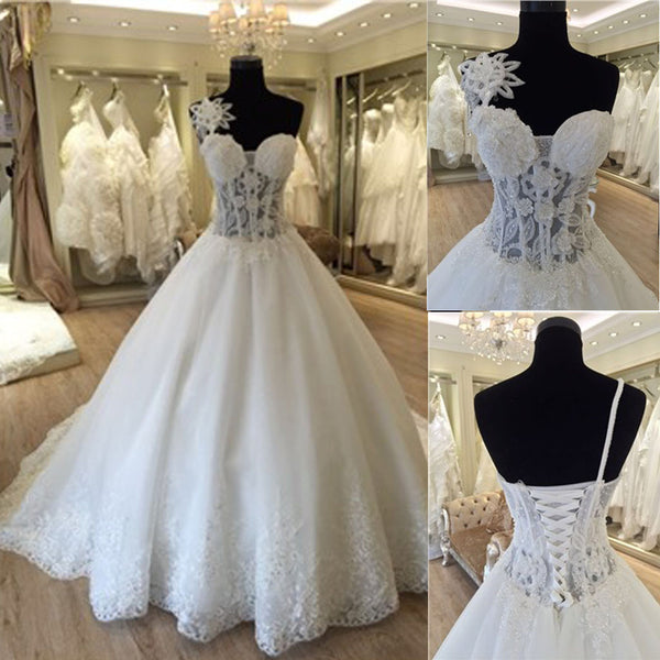 Unique Design One Shoulder See Through A-line Lace Tulle Wedding Dresses, WD0172