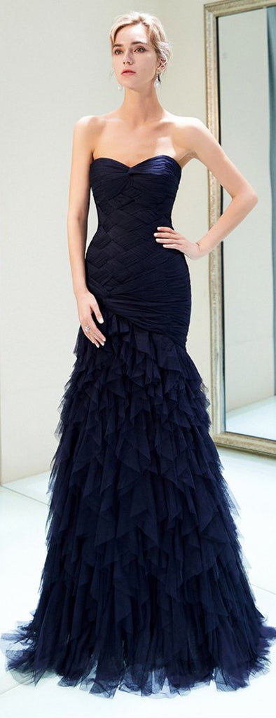 Navy Blue Mermaid Tulle Pleated Backless Cheap Sweetheart Prom Dresses, FC1783