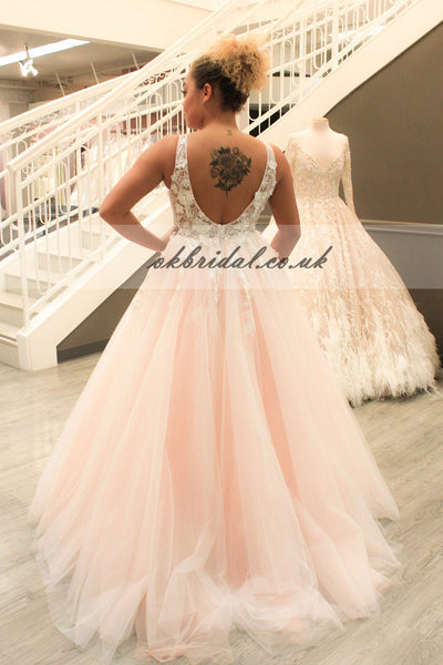 Deep V-Neck Charming Tulle Prom Dress, A-Line Applique Prom Dress, Backless Prom Dress, KX179
