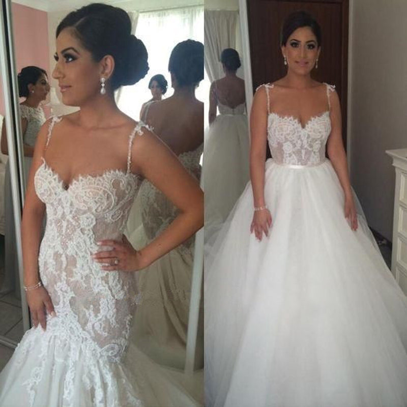 Detachable Lace Charming Bridal Dress, Backless Tulle Sweet Heart Sexy Wedding Dress, KX183