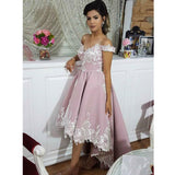 Charming Off Shoulder Applique High-Low Satin Backless Homecoming Dress, KX184