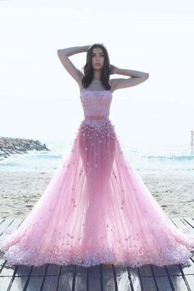 Sexy Two Pieces Pink Evening Prom Dresses, Long Beaded Party Prom Dress, Custom Long Prom Dresses, Cheap Formal Prom Dresses, 17065