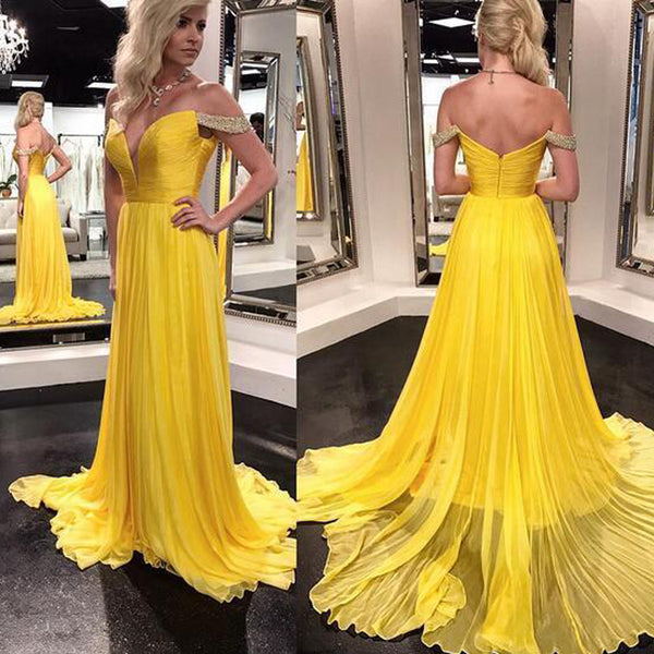 Bright Yellow Off Shoulder Prom Dresses, Charming Backless Chiffon Beaded A-Line Prom Dresses, KX185