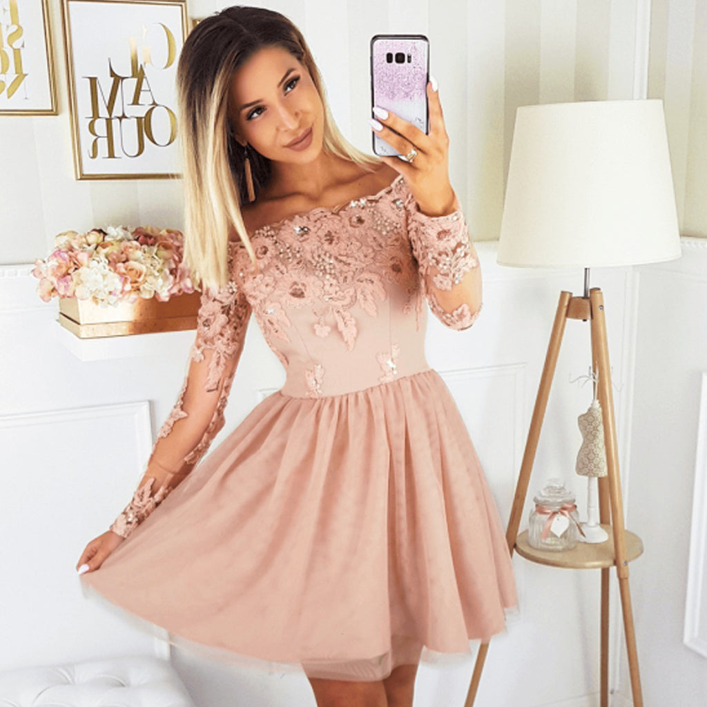 Off Shoulder Long Sleeve Lace A-line Tulle Homecoming Dress, FC1865