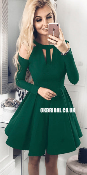 Forest Green A-line Jersey Long Sleeve Homecoming Dress, FC1866