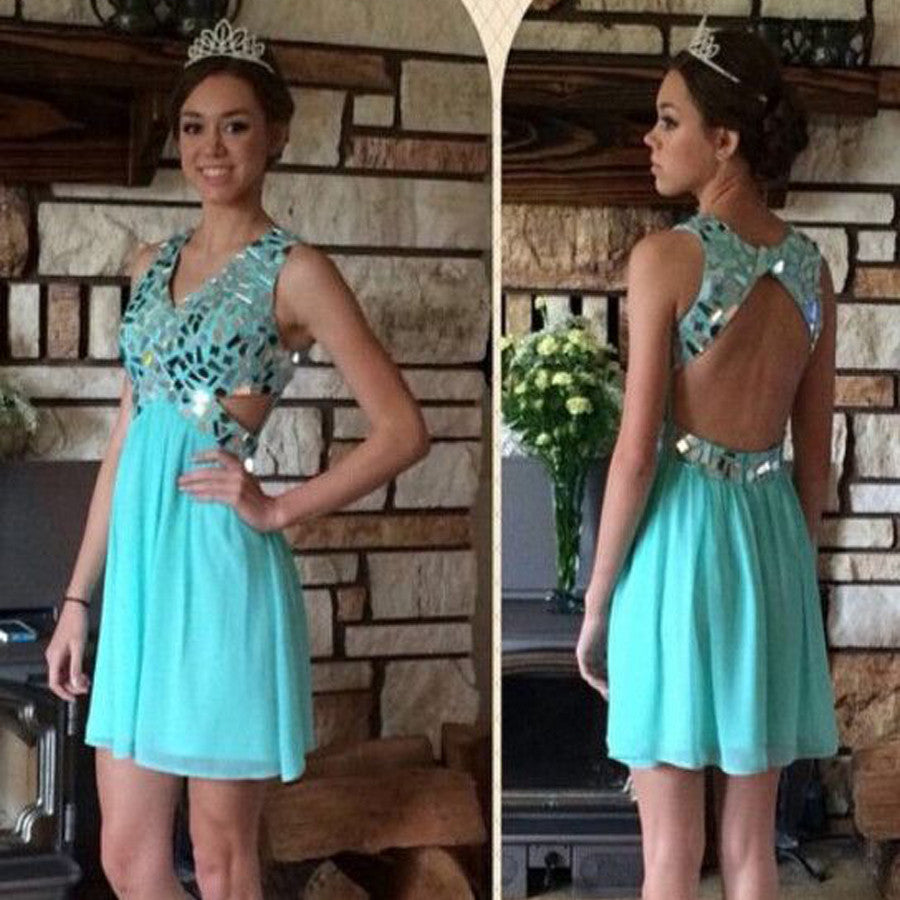 New Arrival gorgeous Mint open back sweet 16 Beautiful Rehearsal casual homecoming prom dresses, BD001186