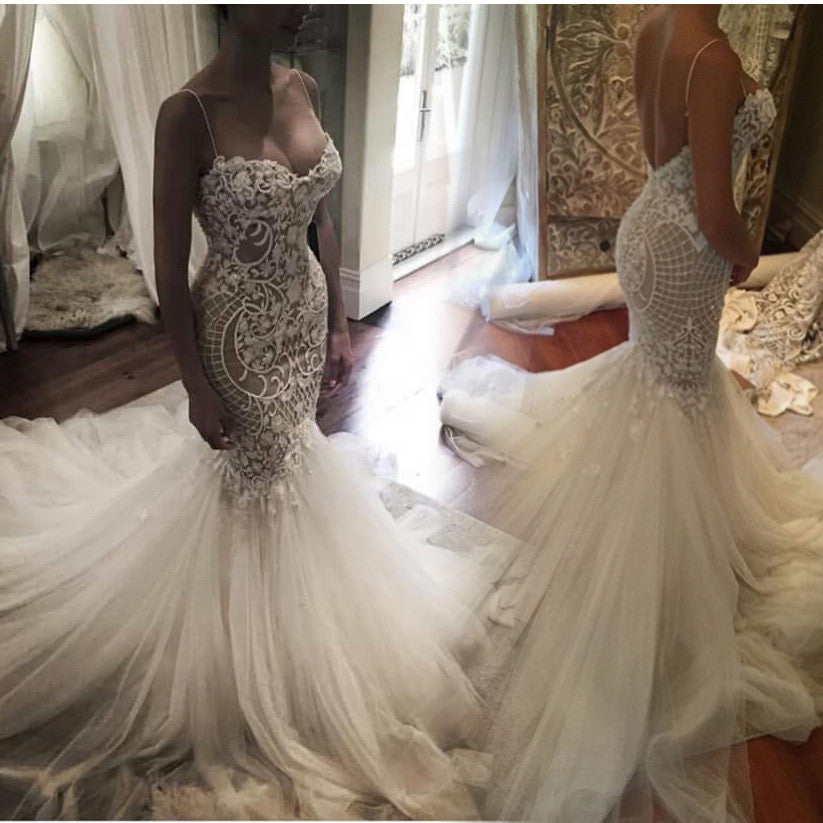 2017 Mermaid Sweet heart Lace Sexy Wedding Dresses,Spaghetti Strap Backless Charming Wedding Dresses,220019