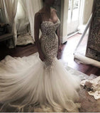 Mermaid Sweet heart Lace Sexy Wedding Dresses, Spaghetti Strap Backless Charming Wedding Dresses, 220019