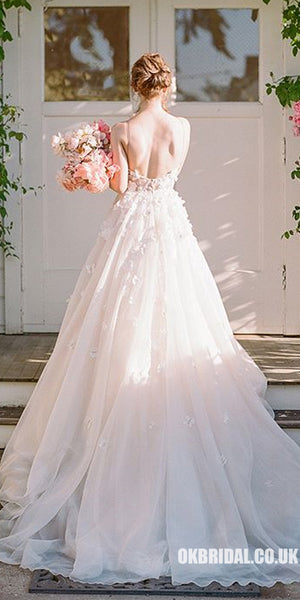 Spaghetti Straps Chiffon Backless A-Line Applique Wedding Dresses, FC1905