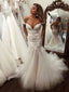 Vintage Lace Off Shoulder Mermaid Tulle Backless Wedding Dresses, FC1909