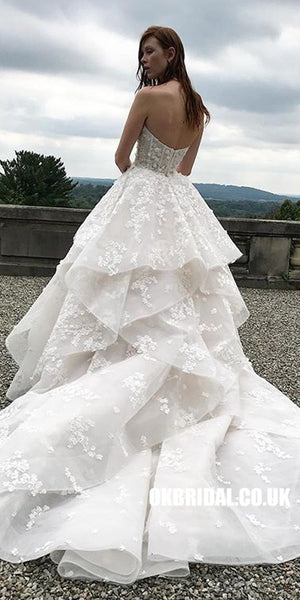 Charming A-line Sweetheart Lace Backless Wedding Dress, FC1912