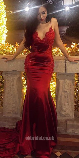 ed166a7cfad Sexy Mermaid Backless Straps Applique Red Prom Dress