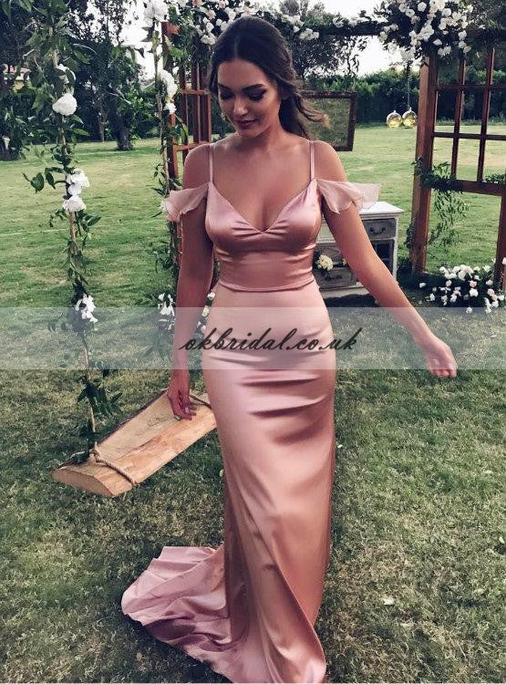 Popular Spaghetti Straps Long Elegant Prom Dresses, Sexy Mermaid Soft Satin Prom Dress Gown, KX191