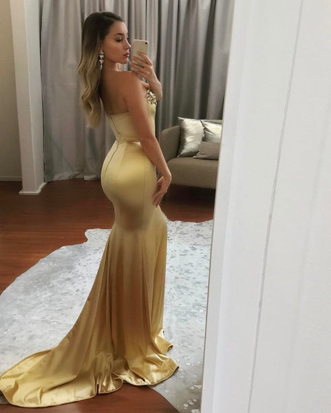 Gold Charming Mermaid Backles Prom Dresses, Sweet Heart Beaded Soft Satin Prom Dresses, KX192