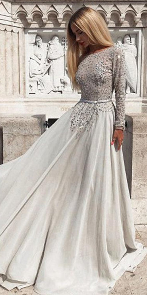 Long Sleeve Chiffon Backless A-Line Beaded Prom Dresses, FC1931