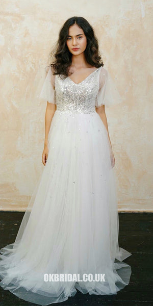 Sparkly Sequin V-neck Tulle A-line Backless Wedding Dress, FC1942