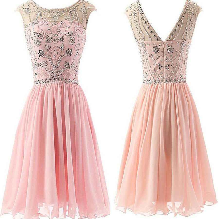 Blush Pink Beaded Chiffon Elegant fashion cute graduation homecoming prom dresses, BD00194