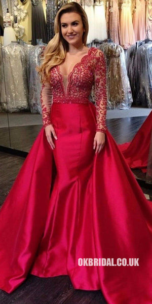 Red Long Sleeve Beaded Backless Deep V-neck Prom Dresses, FC1952