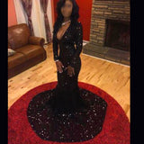 Black Sequin Long Evening Prom Dress, Black 2017 Prom Dress, Long sleeve Evening Dress, Sparkly Prom Dress, Simple Prom Dress, 17019