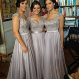 Long formal grey lace elegant a line seen through back floor-length Bridesmaid Dresses, WG02