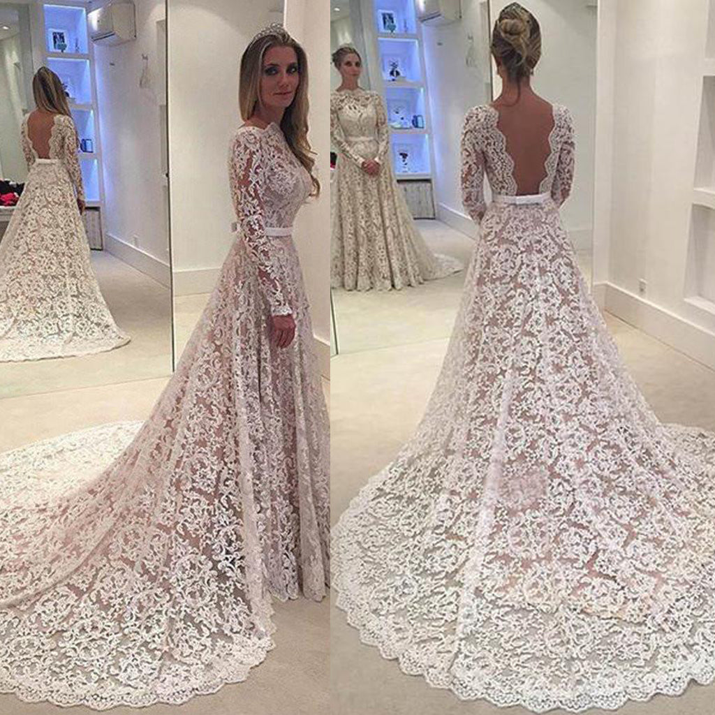 Sexy Backless Long Sleeve A line Wedding Dresses, Long Custom Wedding Gowns, Affordable Bridal Dresses, 17102