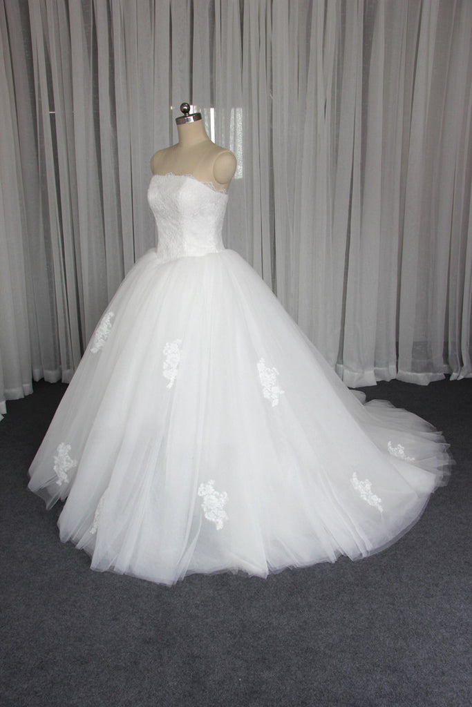 Gorgeous Strapless A line Custom Affordable Lace Wedding Bridal Dresses, WD0093