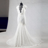 2017 Best Sale Cap Sleeves Sexy Deep V Neck Lace Backless Wedding Dresses with Short Train,220020