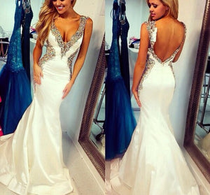 Ivory Mermaid Sexy Open Back Inexpensive Evening Party Long Prom Dresses, WG203