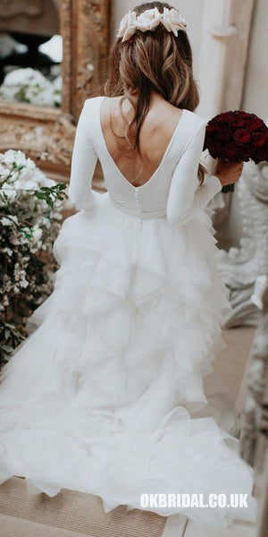 Charming Long Sleeve A-line Jersey Backless Wedding Dresses, FC2044