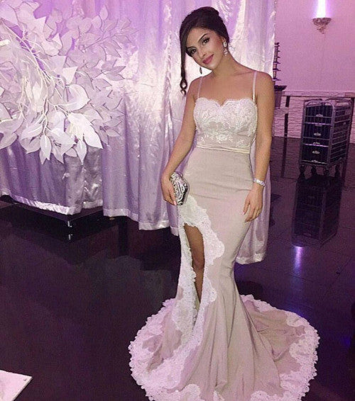 Sexy Slit Lace Mermaid Evening Prom Dresses, 2017 Long Party Prom Dress, Custom Long Prom Dresses, Cheap Formal Prom Dresses, 17077