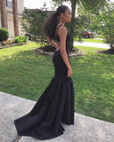 Charming Black Long Prom Dress, Sexy Mermaid Backless Jersey Prom Dress, KX209